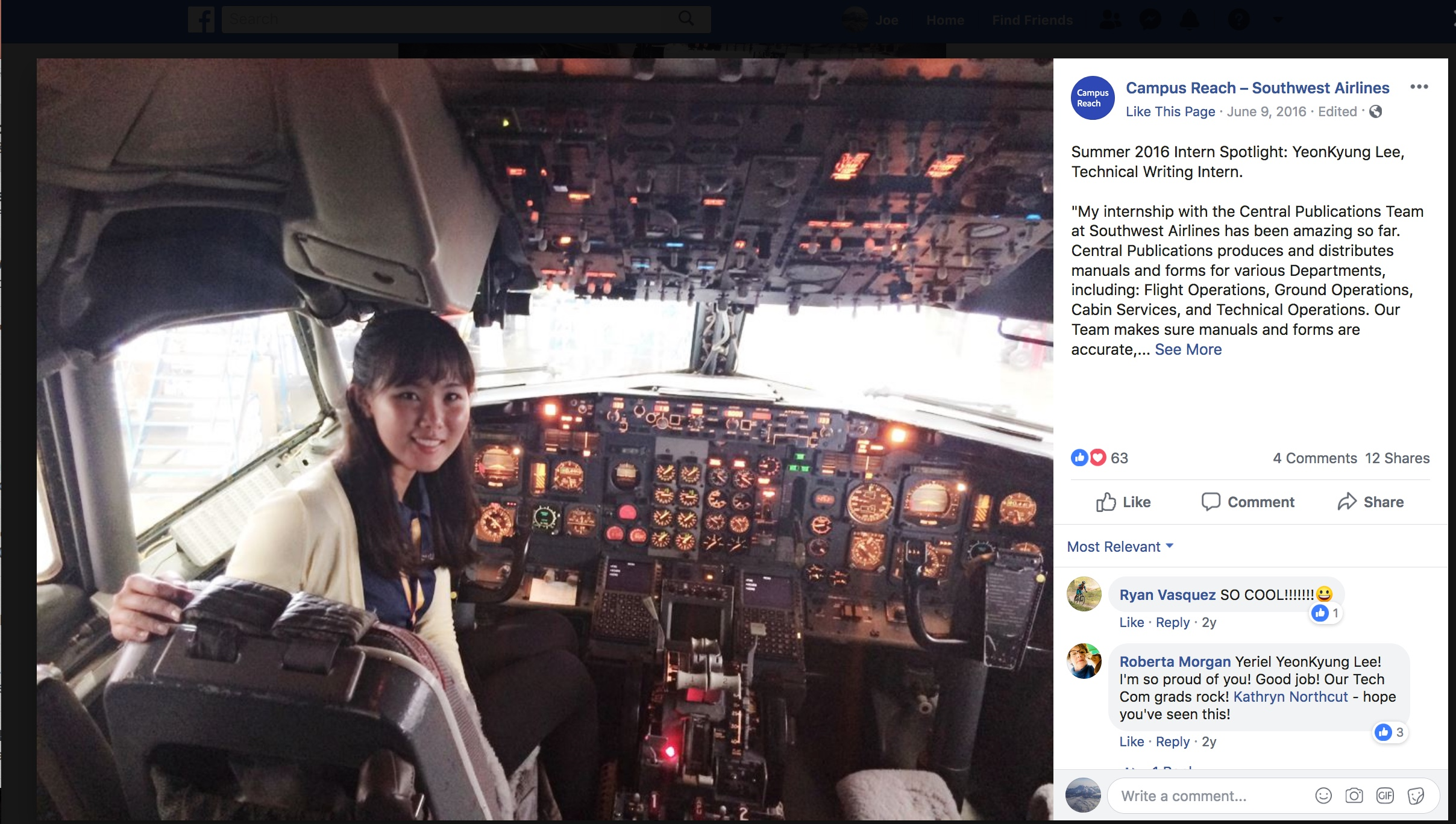 a photo of Yeriel Lee in her internship with Southwest Airlines